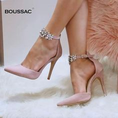 party shoes on sale at reasonable prices, buy Elegant Rhinestone High Heels Women Pumps Silk Pointed Toe Wedding Shoes Women Buckle Strap Crystal Party Shoes Women from mobile site on Aliexpress Now! High Heel Pumps, Sexy High Heels, Stilettos, Wedding High Heels, Sparkly Wedding Shoes, Frauen In High Heels, Pointed Toe Pumps, Womens High Heels, Women's Pumps