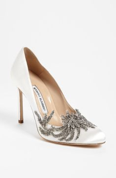"Dream wedding shoe: Sparkly Manolos. The ""swan"" pump."