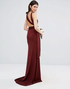 Imagen 2 de Vestido largo multiposición con cola de pez Wedding de TFNC Tall