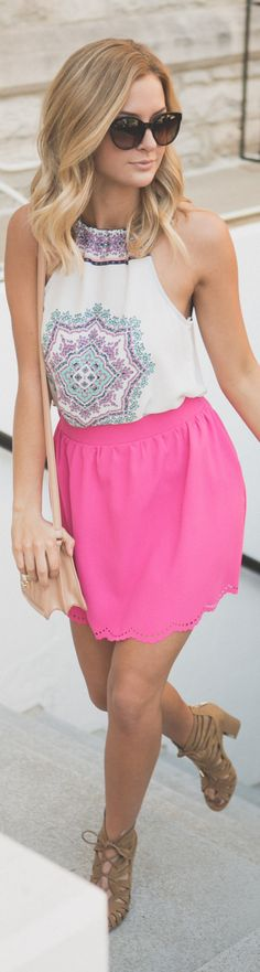 Add some color to your wardrobe with this pretty patterned top and hot pink scalloped skirt. #fashion #style #stylish #love #photooftheday #beauty #beautiful #instagood #instafashion #model #dress #shoes #heels #styles #outfit #purse #cityoutfit #shopping #skirts #pink #citylife