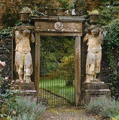 Stone entrance flanked by a pair of statues at Charleton House, Scotland. Photo by Fritz von der Schulenburg. Via The Interior Archive. Old Garden Gates, Garden Entrance, Entrance Gates, Garden Doors, House Entrance, The Secret Garden, Secret Gardens, Dream Garden, Garden Art