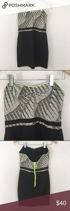 NWT Silence and Noise Black Strapless Dress Large NWT Silence and Noise Black White Stretch LBD Strapless Dress Large. Brand new! Neon piping. Back zipper. Stretch. Clean and comes from smoke free home. Questions welcomed. silence + noise Dresses Strapless