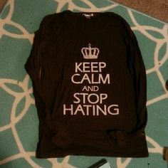 Keep calm brown shirt xl Size xl, waffle knit brown with white print. Super comfy, shows some love Tops Tees - Long Sleeve