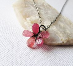 Oxidized Sterling Silver Gemstone Pendant Necklace with Pink Hammered Sapphire