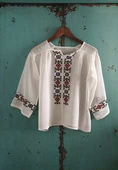 antique embroidered blouse in ivory white / by silkroaddream, $360.00