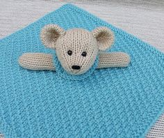 Ravelry: Mini Lovey Blankie Menagerie pattern by Lorraine Pistorio Knitted Bunnies, Knitted Teddy Bear, Knitted Animals, Knitted Dolls, Piggies In A Blanket, Lovey Blanket, Animal Knitting Patterns, Baby Patterns, Stitch Patterns