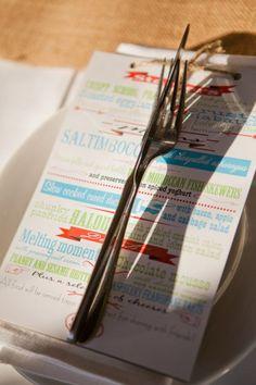 Typographic menu.