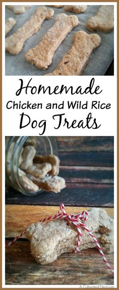 Want to give your dog inexpensive and healthy dog treats? Then you've got to make these homemade chicken and wild rice dog treats! These make great gifts!