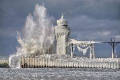 Crashing Wave on Lighthouse in Michigan