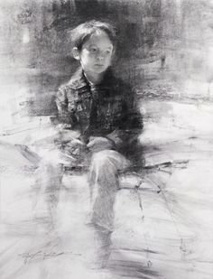 "HSIN-YAO TSENG Drawings: Kid with Denim Jacket, Charcoal on Paper 14""x11"" 2012"