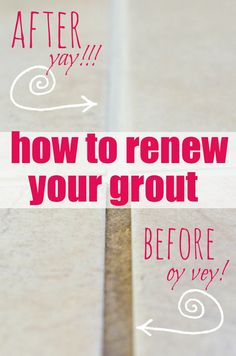 How to Renew Grout… even if it's totally disgusto! Poly blend grout rene… How to Renew Grout… even if it's totally disgusto! Poly blend grout renew from Home Depot. Diy Cleaning Products, Cleaning Solutions, Cleaning Hacks, Floor Cleaning, Kitchen Cleaning, Green Cleaning, Kitchen Tips, Cleaning Supplies, Tips And Tricks