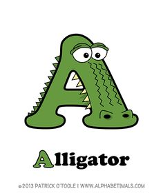 Alligator - Alphabetimals make learning the ABC's easier and more fun! http://www.alphabetimals.com
