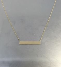 14 Karat Yellow Gold Bar Necklace 5x30mm