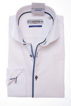 Ledub shirt Tailored fit wit 0135680.910.170.190