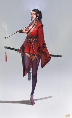 Samurai by Kveldulv Fantasy Girl, Chica Fantasy, Fantasy Art Women, Fantasy Warrior, Fantasy Character Design, Character Design Inspiration, Character Concept, Character Art, Concept Art