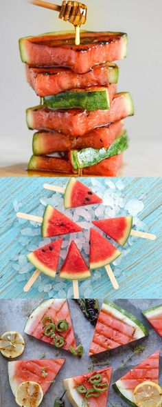 Gotta love this amazing Honey-Glazed Grilled Watermelon Recipe! This is such a fun food for a BBQ or cookout.