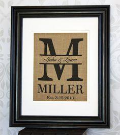 Custom Wedding Gift Personalized Burlap Monogram Print Great for Wedding Showers, Housewarming, and Anniversaries.