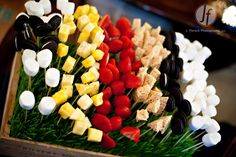 Chocolate Fountain Treats - you could make a fun centerpiece with these like a boquet of flowers