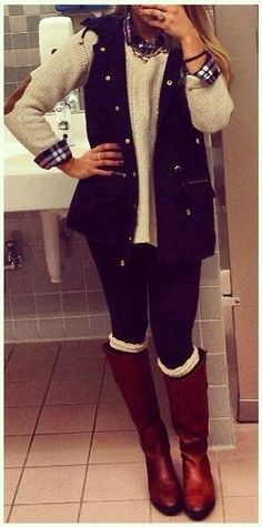fall outfit. high boots, sweater. women fashion outfit clothing style apparel @roressclothes closet ideas