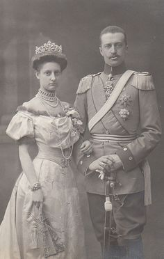 Prince Johann Georg of Saxony's first wife, Princess Maria Isabella of Wurttemberg, they wed on 5 April 1894. Seen here wearing a different diamond and pearl tiara to her sucessor. She died on 24 May 1904