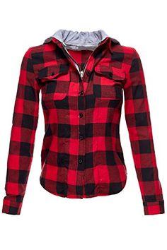 Buffalo Plaid Flannel Hoodie Button Down Shirts. (E4B2) Luna Flower http://www.amazon.com/dp/B01833DOHQ/ref=cm_sw_r_pi_dp_logKwb1XRX8Q5