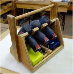Woodworking Tools Make a DIY Power Tool Tote to Keep Your Tools and Accessories Within Arm's Reach - Let this tool tote transport your most commonly used power tools from job to job around the house. Woodworking Power Tools, Essential Woodworking Tools, Beginner Woodworking Projects, Popular Woodworking, Woodworking Jigs, Woodworking Classes, Woodworking Magazines, Unique Woodworking, Youtube Woodworking