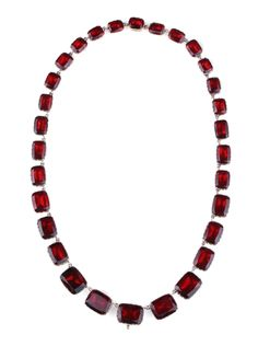 Georgian Garnet Paste Gold Riviere Necklace | From a unique collection of vintage link necklaces at https://www.1stdibs.com/jewelry/necklaces/link-necklaces/