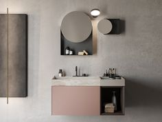 Round framed wall-mounted mirror POIS Compact Living Collection By Rexa Design design Monica Graffeo Eclectic Bathroom, Bathroom Interior Design, Modern Bathrooms, Washbasin Design, Zen House, Boffi, Storage Mirror, Wall Mounted Vanity, Compact Living
