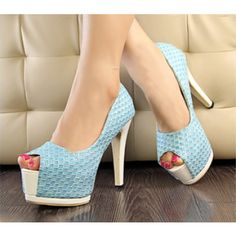 Fish Mouth High-Heeled Pattern Leather Shoes for Women