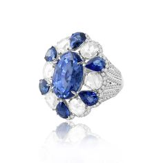 Sutra sapphire and diamond cocktail ring in white gold.