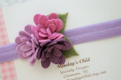 Felt Flower Headband in Soft Wisteria Bloom - Newborn Headbands, Baby Headbands, Baby Girl Headbands, Girls Headband