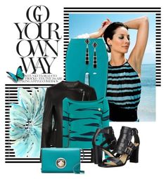 """Christy Turlington in Black & Aqua (Template Experiment)"" by franceseattle ❤ liked on Polyvore featuring Universal Lighting and Decor, M Missoni, Theory, Fred Leighton, Kenzo, Via Spiga and Kate Spade"