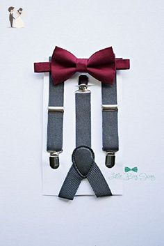 Boys Burgundy Wine Bow Tie with Charcoal Grey Suspenders. A stylish look for ring bearers, groomsman, birthday parties, cake smash or family photos. - Vineyard weddings (*Amazon Partner-Link)