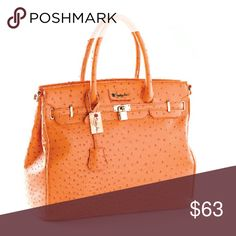 Purse Ostrich , embossed animal friendly leather, orange beautiful shoulder stap purse, with lock and key included, new never used, large enough to carry your laptop,  and personal belongings , 13x 7 1/2 x16 1/2 penelope anne Bags Shoulder Bags