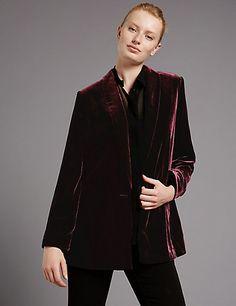 Velvet Long Sleeve Blazer | M&S