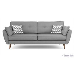 Zinc 4 Seater Sofa Zinc (41 AUD) ❤ liked on Polyvore featuring home, furniture, sofas, rounded sofa, zinc furniture, four seat sofa, 4 seater sofa and rounded couch