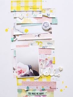 8.5 X 11 SCRAPBOOK LAYOUT ~ Love all the strips of paper.
