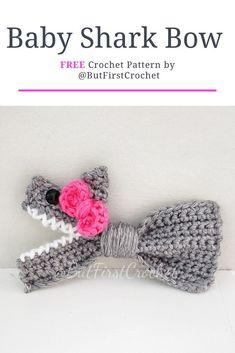 New Screen Cute crochet ideas Tips Baby Shark Bow headband. An easy FREE crochet pattern great for baby shark lovers or shark week! Baby Girl Crochet, Crochet For Kids, Free Crochet, Knit Crochet, Crochet Baby Stuff, Easy Crochet Baby Hat, Crochet Shark, Crochet Baby Toys, Crotchet
