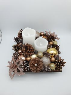 Christmas centerpiece - New Year's Day / table decoration or other with Bo . , - Christmas centerpiece – New Year's Day / table decoration or other with Bo … , - Homemade Christmas, Simple Christmas, Christmas Time, Christmas Wreaths, Christmas Crafts, Christmas Ornaments, Pine Cone Decorations, Handmade Christmas Decorations, Diy Centerpieces