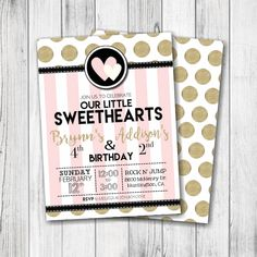 Valentine's Day Birthday Party Invitation – Our Little Sweetheart(s) Party Invitation – Girl, Siblings, Twins – Our Little Valentine – Double Sided – #B401