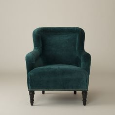 "I don't like the price, but I'm really liking the ""peacock"" color lately...it would make for a nice accent color to a fairly neutral room......Fulton Chair - Peacock Wool Velvet and Modern Leaf"