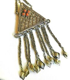 Old Turkoman Kazakh Design Headdress Ornament Pendant from Afghanistan | craftsofthepast - Jewelry on ArtFire