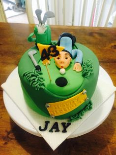 Golf themed cake Golf Themed Cakes, Golf Cakes, Sport Cakes, Desserts, Cake Ideas, Zucchini, Food, Tailgate Desserts, Deserts