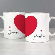 Personalised Two Halves Heart Mug Set Wedding Anniversary Engagement Valentines Day Couples Gift Valentines Day Couple, Valentines Mugs, Valentine Day Gifts, Love Gifts, Gifts For Him, Unique Gifts, Wedding Anniversary Gifts, Wedding Gifts, Diy Mug Designs