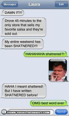 "Autocorrect win, from a fan. I just ""shat"" myself."