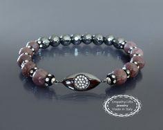 Black evil eye bracelet Protection mala bracelet by EmpathyGifts