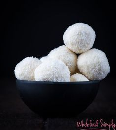 Simple delicious and free from gluten grains egg nuts and refined sugar. Sugar Free Sweets, Sugar Free Recipes, Sweet Recipes, Whole Food Recipes, Snack Recipes, Dessert Recipes, Snacks, Cheesecake Truffles Recipe, Coconut Cheesecake