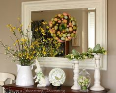 Spring Easter Decor vignette at www.chiconashoestringdecorating.blogspot.com