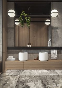 Our visualization for - ONI architects #onirender #bathroom #agape #vibia #wood #oniproject