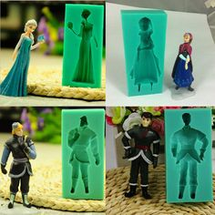 New Famous Cartoon Girl Queen Princess Christopher Figure Silicone Fondant molds Cake Decoration Tool baking tools cake tool